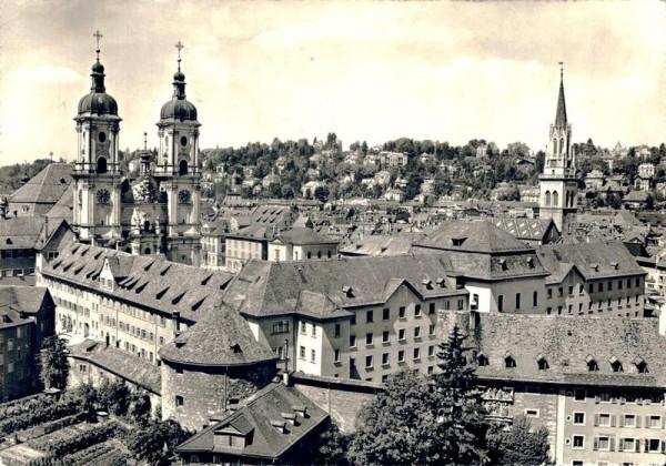 Der Stadtkern St. Gallen, Klosterkirche, Pfalz, Wehrmauer, St. Laurenzen Vorderseite