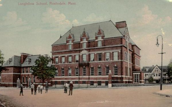 Roslindale Mass., Longfellow School Vorderseite