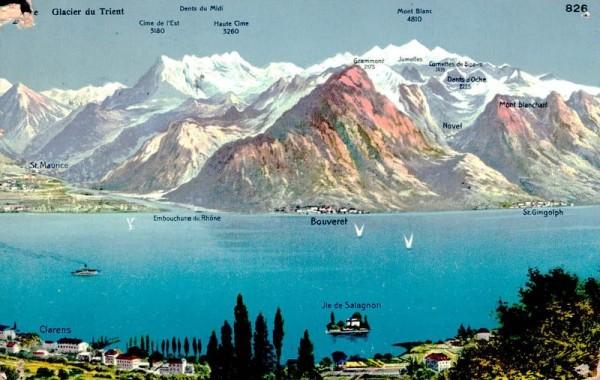 Glacier du Trient, Lac Leman, Dent du Midi, Mount Blanc, 1912 Vorderseite