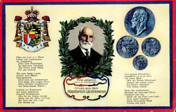 Gruss aus dem Fürstentum Liechtenstein; Fürst Johann II. von Liechtenstein um 1925 Vorderseite