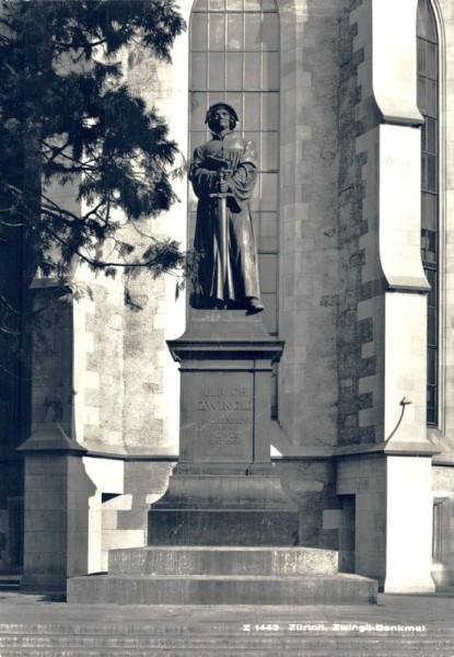 Zürich. Zwingli-Denkmal Vorderseite