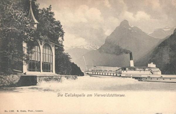 Tellskapelle am Vierwaldstättersee und Schiff Stadt Mailand Vorderseite