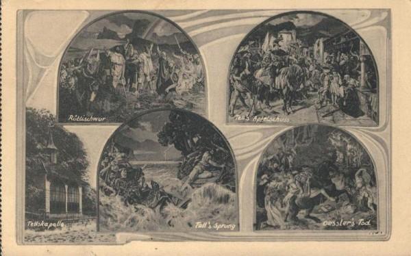 Tellskapelle. Wandgemälde von E. Stückelberg in der Tellskapelle am Vierwaldstättersee. 1939 Vorderseite