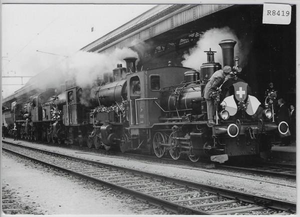 Personenbahnhof St. Gallen - Degersheim Dampflokifest 4 Lokomotive kurz vor der Abfahrt - Bahn