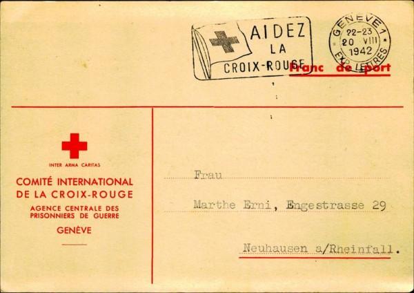 V, Comité international de la croix-rouge, Dankeskarte Vorderseite