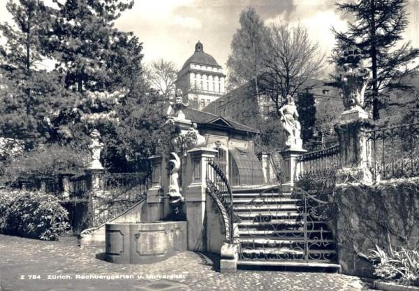 Zürich. Rechberggarten und Universität Vorderseite