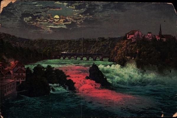 Rheinfall bei bengalischer Beleuchtung