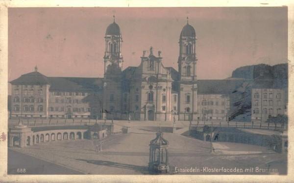 Einsiedeln - Klosterfacaden mit Brunnen (Klosterfassaden) Vorderseite