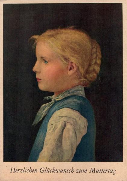 Albert Anker, Junges Blondes Mädchen, Muttertag Vorderseite