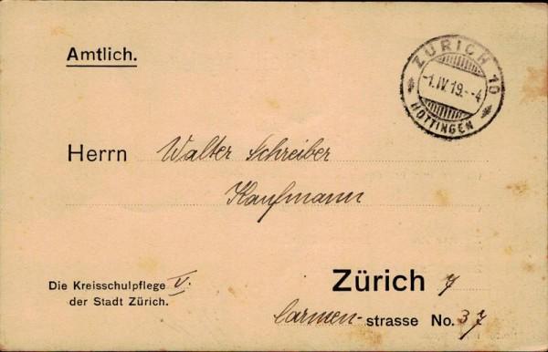 Zürich, Mitteilung der Kreisschulpflege V Vorderseite