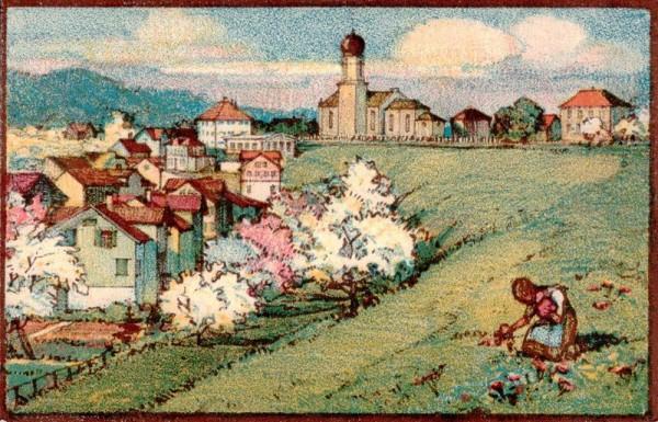 Oberbüren-Neudorf, Orginallith. von Aug.M. Bächtiger Vorderseite