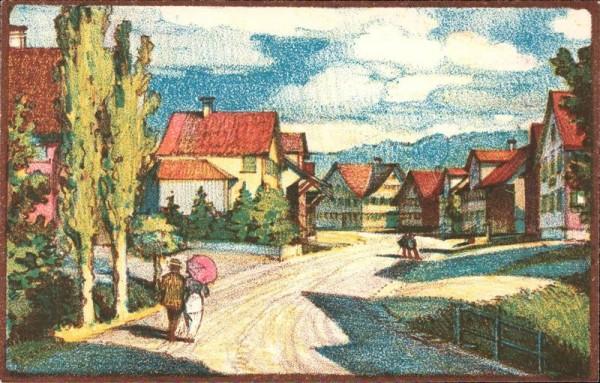 Oberbüren, Dorfpartie, Orginallith. von Aug.M. Bächtiger Vorderseite