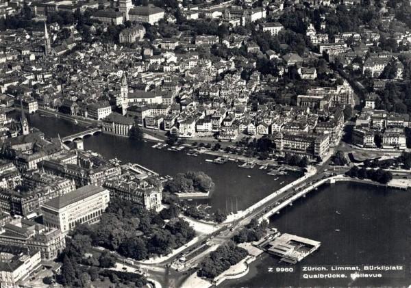 Zürich. Limmat, Bürkliplatz, Quaibrücke, Bellevue Vorderseite