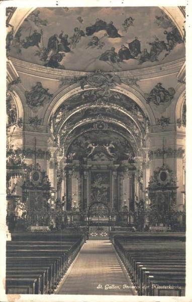 St.Gallen, Inneres der Klosterkirche. 1932 Vorderseite