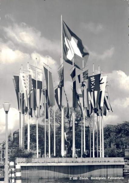 Zürich. Bürkliplatz, Fahnenturm. 1939 Vorderseite