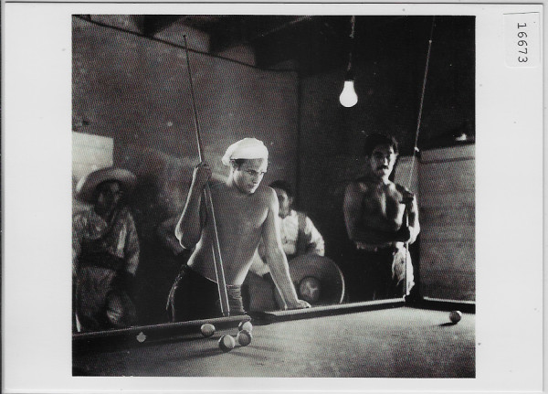 Marlon Brando, Anthony Quinn in background Taking a break from the shooting of Viva Zapata 1952