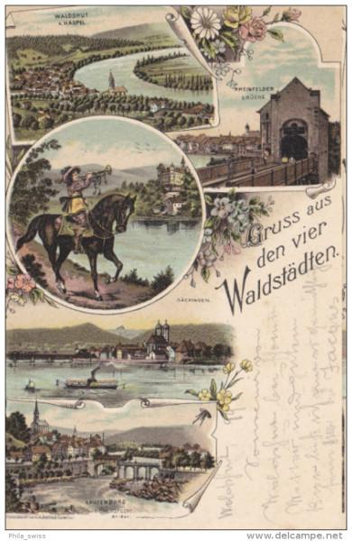 Gruss aus den vier Waldstädten - farbige Litho - Laufenburg, Säckingen, Waldshut, Rheinfelden
