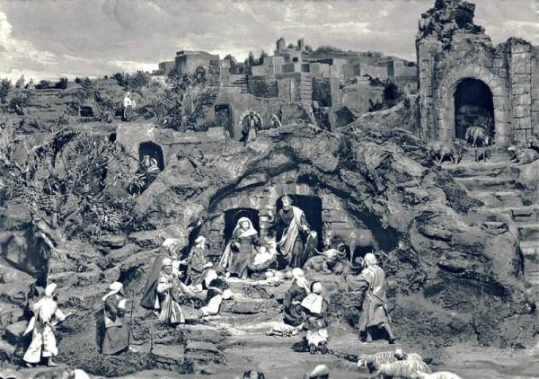 NEUES DIORAMA Bethlehem, Einsiedeln, Geburtshöhle mit hl. Familie, Anbetung der Hirten Vorderseite