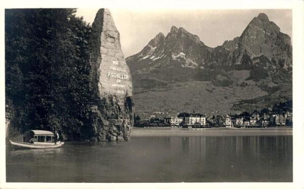 Schillerstein mit Brunnen Vorderseite
