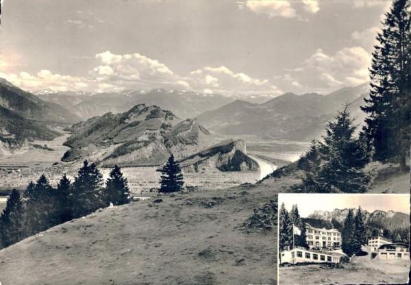 Blick vom Kurhaus Alvier. Rheintal u. Bünderberge Vorderseite