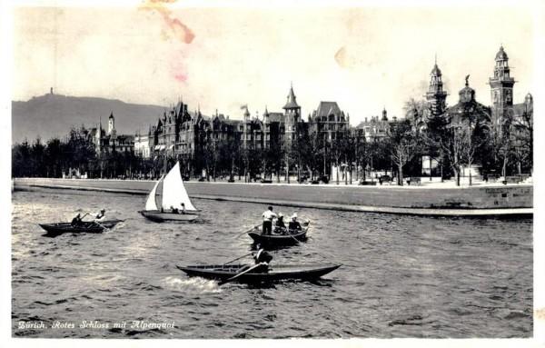 Zürich. Rotes Schloss mit Alpenquai. 1937 Vorderseite