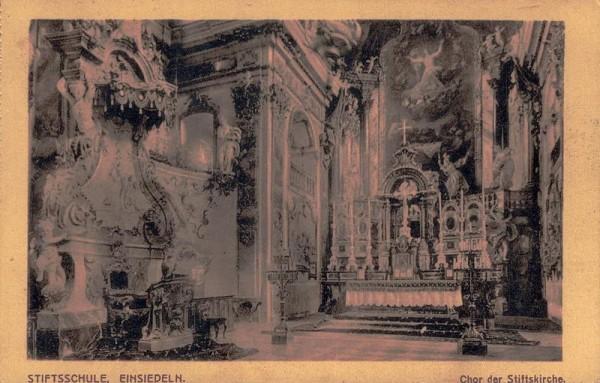 Stiftsschule, Einsiedeln. Chor der Stiftskirche. Vorderseite