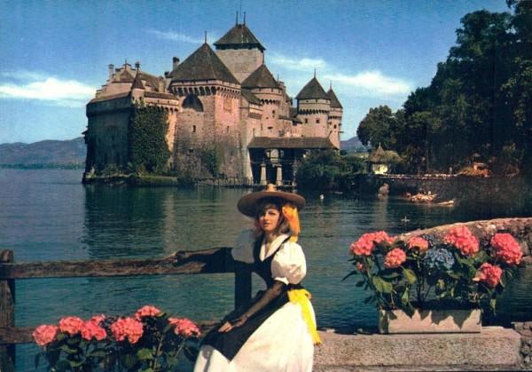 Lac Leman. Jeune fille en costume de Montreux et le Château de Chillon Vorderseite