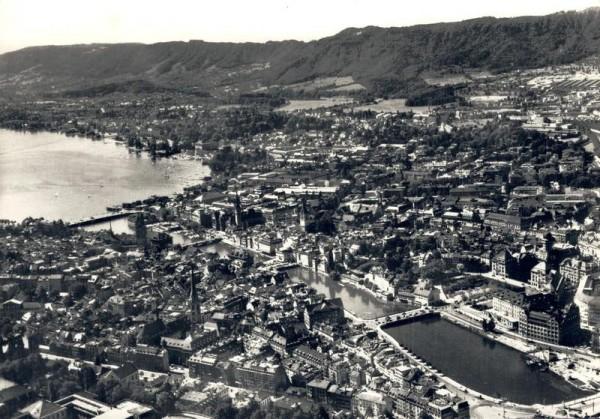 Zürich. Blick auf Limmat und See Vorderseite
