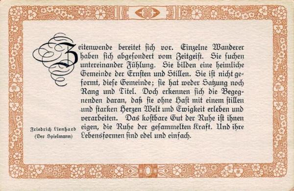Spruchkarten von Friedrich Lienhards Werken, Der Spielmann; Zeitenwende bereitet sich vor... Vorderseite