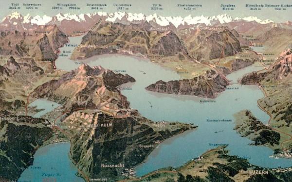 Luzern, Vierwaldstättersee, Alpen Vorderseite