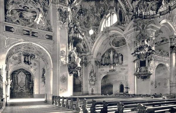 Einsiedeln. Inneres der Klosterkirche Vorderseite