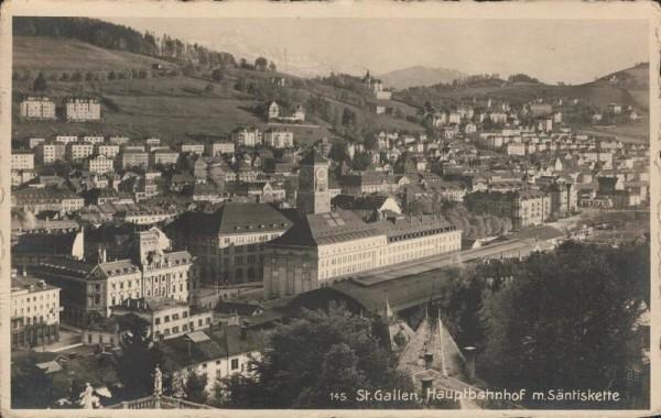 St. Gallen, Hauptbahnhof mit Säntiskette. 1926 Vorderseite