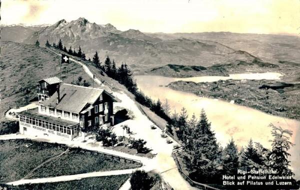 Rigi-Staffelhöhe Hotel und Pension Edelweiss, Blick auf Pilatus und Luzern Vorderseite
