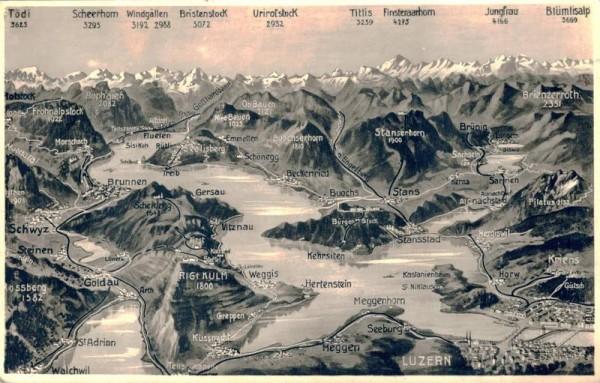 Luzern. Vierwaldstättersee und Umgebung. 1939 Vorderseite