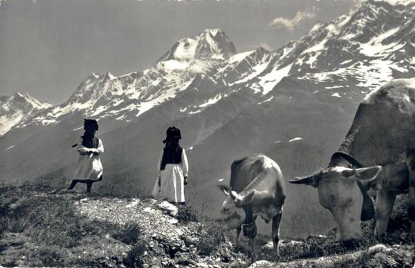 Die Tracht stimmt zur Gegend, Im Lötschental, das Bietschhorn Vorderseite