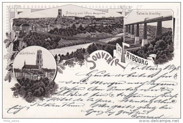 Fribourg, Gruss aus - schwarz/weiss Litho - La Cathedrale, Le Pont, Viadue de Grandfey