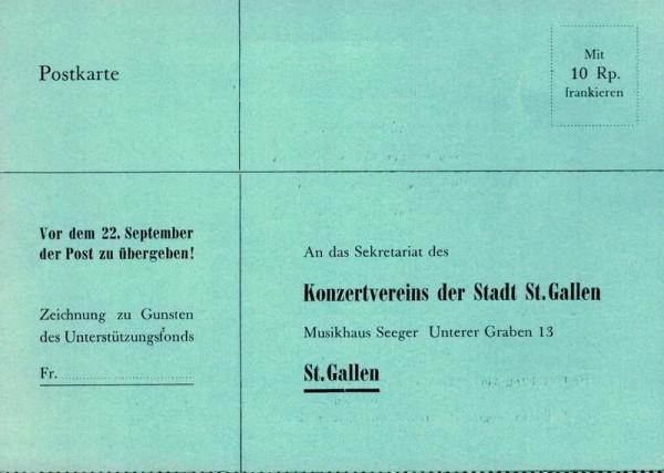 Konzertverein St. Gallen, Bestellkarte Abonnements-Konzerte 1949/1950 Vorderseite