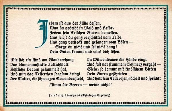 Spruchkarten von Friedrich Lienhards Werken, Thüringer Tagebuch; Jedem ist aus der Fülle... Vorderseite