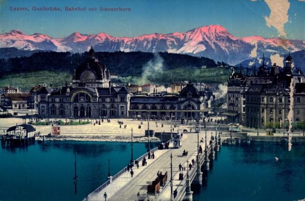 Quaibrücke, Bahnhof mit Stanserhorn, Luzern