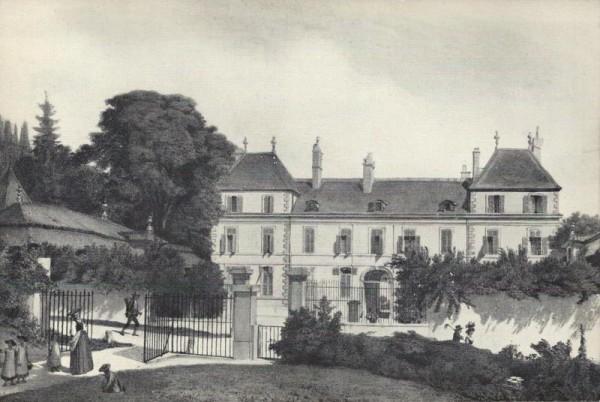 Le Château de Coppet, vu de l`avenue, en 1846. Lithographie Vorderseite