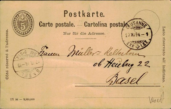 Postkarte 1914 Vorderseite