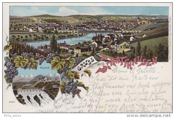 Schaffhausen, Gruss aus - farbige Litho - Rheinfall, Generalansicht