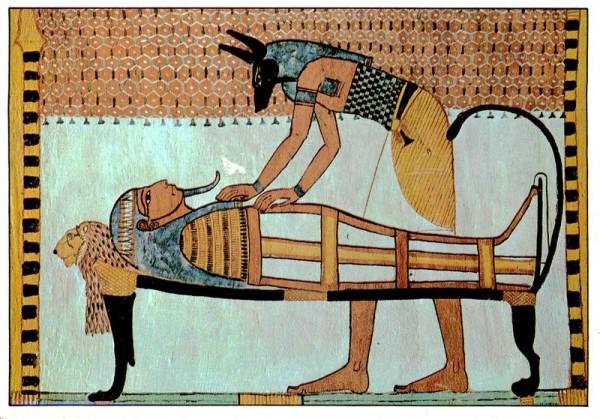 Anubis mumifiziert einen Leichnam, Sennodiem, Grab des Deir el-Medina, Theben Vorderseite